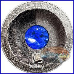 METEORITE-CAMPO DEL CIELO Chaco Crater 3 Oz Silver Coin 20$ 2016 Cook Islands