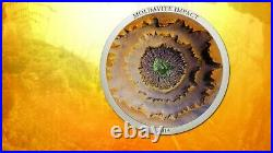 Meteorit 2014, MOLDAVITE IMPACT, Meteorite coin, Cook Islands Silver