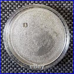 Moon 2009 Meteorite Moonstone Silver Coin $5 Cook Islands