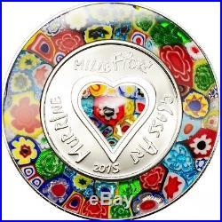 Murrine Millefiori Glass Art $5 Silver Coin Cook Islands 2015