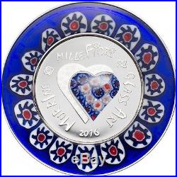 Murrine Millefiori Glass Art $5 Silver Coin Cook Islands 2016