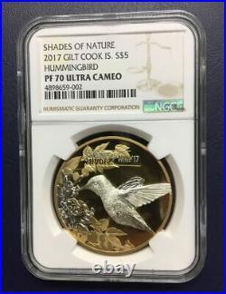 NGC PF70 Cook Island 2017 Shades of Nature Hummingbird Gilt Silver Coin 25g