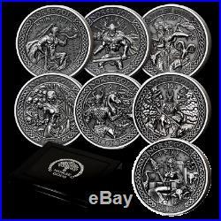 Norse Gods Cook Islands 9 coin set. 999 silver 2oz each
