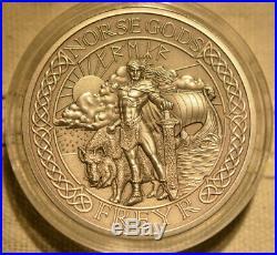 Norse Gods Freyr, 2 oz Silver Coin, Cook Islands 2015