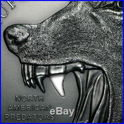 North American Predator (cook Islands) 2015 Wolf Silver Coin