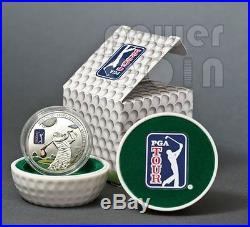 PGA TOUR GOLF CLUB Official Licensed Silver Coin 5$ Cook Islands 2013