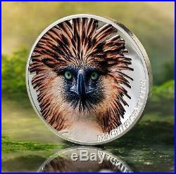 PHILIPPINE EAGLE 1 oz silver proof coin concave shape Cook Islands 2019 in OGP