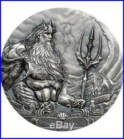 POSEIDON Sea Gods Of The World 3 Oz Silver Coin 20$ Cook Islands 2019