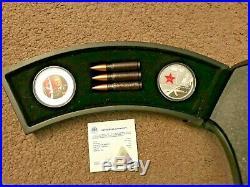 RARE 2007 Kalashnikov AK-47 60th Anniversary 2 x 1 Oz Silver Coins Cook Islands