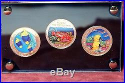 RARE COOK SOLOMON ISLANDS NIUE Marine Life Protection 3 pc Silver $5 Coin set