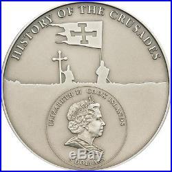RARE Cook Islands 5$ 2009 1st Crusade Godfrey of Bouillon Silver Coin
