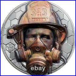 REAL HEROES FIREFIGHTER 3 oz Silver Black Proof Coin 2021 Cook Islands $20