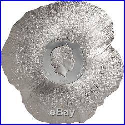 REMEMBRANCE POPPY 1 oz Silver Coin shaped Cook Islands 2017