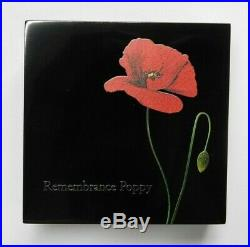 REMEMBRANCE POPPY 1oz Proof-Like Silver Coin in Box+COA 2017 Cook Islands $5