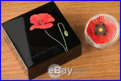 REMEMBRANCE POPPY Papaver 1 Oz Silver Coin 5$ Cook Islands 2017