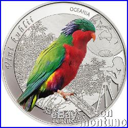 RIMATARA RAINBOW LORIKEET Birding Series #4 Silver Coin 2016 Cook Islands $2
