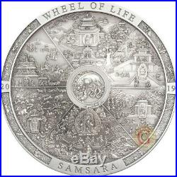 SAMSARA WHEEL OF LIFE Archeology Symbolism Cook Islands 3 Oz Silver Coin PRESALE
