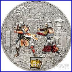 SAMURAI HISTORY Original Armor 1 Oz Silver Proof Coin 5$ Cook Islands 2015