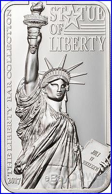 STATUE OF LIBERTY Liberty Bar Shaped 2 Oz Silver Coin 10$ Cook Islands 2017