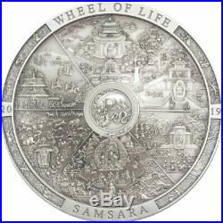 Samsara Wheel Of Life 2019 3 Oz Pure Silver High Relief Coin Cook Islands