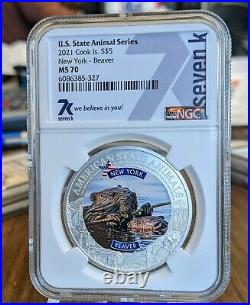 Set of 7 1oz Silver Animal State Series NGC MS70 Coins