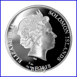 Solomon Islands 2018 25$ HM Bark Endeavour 250t Ann. Mother Of Pearl Silver Coin