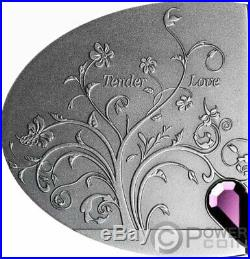 TENDER LOVE Mirror Swarovski Silver Coin 2$ Cook Islands 2020
