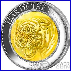 TIGER Mother of Pearl Lunar Year Series 5 Oz Silver Coin 25$ Cook Islands 2022