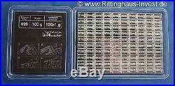 Table bar 100 x 1 g Silver bullion Combicoin Cook Islands Valcambi Coins bullion