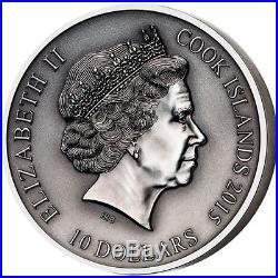 The Norse Gods Freyr 2 oz Antique finish Silver Coin Cook Islands