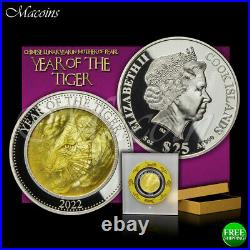 Tiger Mother Of Pearl Lunar Series 2022 Cook Islands 5 Oz 999 Silver Coin