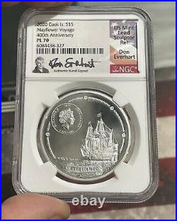 Ultra High Relief 2020 Cook Island $5 Mayflower 400th Anniversary NGC Pl 70