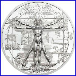 VITRUVIAN MAN X-RAY 1oz Silver Proof Coin in Box with COA 2021 Cook Islands $5