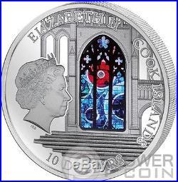 WINDOWS OF HEAVEN WASHINGTON CATHEDRAL Lunar Rock Silver Coin Cook Islands 2014