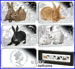 Year of the Rabbit Cook Islands 2011 Silver 4 x $1 Proof Coin Set Perfect