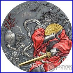 ZHONG KUI Gilded Asian Mythology 3 Oz Silver Coin 20$ Cook Islands 2020