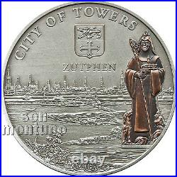 ZUTPHEN City of Towers HANSEATIC LEAGUE Antique Finish Silver Coin 2010 COOK